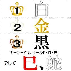 ダントツ1位:白 2位:金 3位:黒 キーワードは、ゴールド、白、黒、それに蛇!